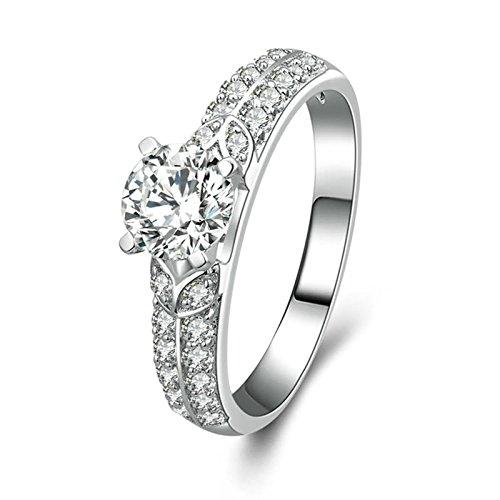 Anazoz anelli fidanzamento solitario donna bianco cubic zirconia incisione gratuita fedine nuziali argento misura 13