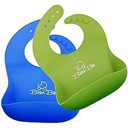 Baberos para Bebé de Silicona Impermeable - Se Enrolla Fácilmente, Menos Lío, Se Seca y Limpia Rápido   Con un AMPLIO Bolsillo Para Recoger la Comida   VERDE AZUL   Tope Antiportazos GRATIS