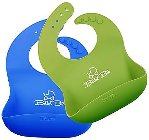 Wasserfeste Baby-Lätzchen aus Silikon – Leicht abwischbar! Weich und bequem für Ihr Kleinkind – Set mit 2 Farben GRÜN & BLAU | KOSTENLOSER Türstopper