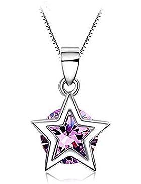Fashmond Violett 925 Sterling Silber Damen Halskette mit Anhänger Collierkette Geschenke für Frauen Mädchen Mutter