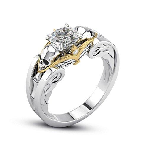 Ring,Dragon868 Fashion Titan Stahl Hand verziert mit einem Skelett Kopf Diamond Ring