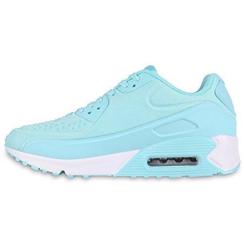 Damen Herren Unisex Sportschuhe Runners Sneakers Laufschuhe Trendfarben Türkis Weiss
