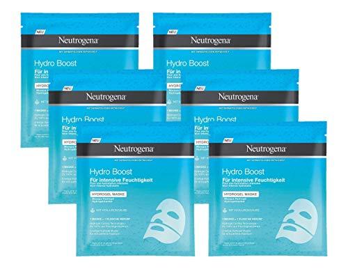 Neutrogena Hydro Boost Hydrogel Maske, mit Hyaluronsäure für intensive Feuchtigkeit, 6 x 30 ml -