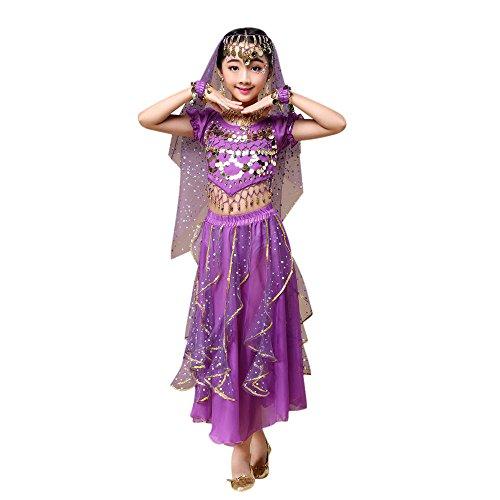 Lazzboy Kostüm Rock Kindermädchen Bauchtanz Outfit Indien Tanzkleidung Top + Rock(M,Lila)
