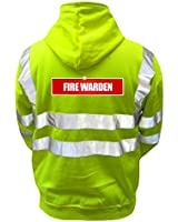Reflective Fire Warden High Visibility Hi Vis Viz Hoodie Safety Hoody