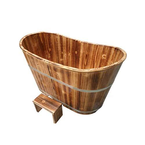 Bathtub PHTW HTZ Badewanne Erwachsene Badewanne Haushalt Verdicken Holz Erwachsene Schaum Massage Badewanne 160x60x65CM Brown 6 Jahre Alt Oder Höher
