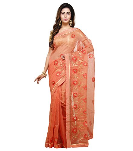 Vedika Creations Orange Colour Supernet Saree Fancy Sari