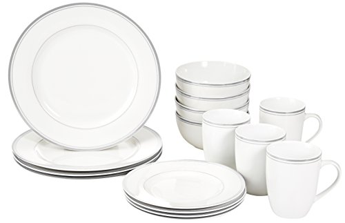 AmazonBasics 16-Piece Cafe Stripe Dinnerware Set - Grey