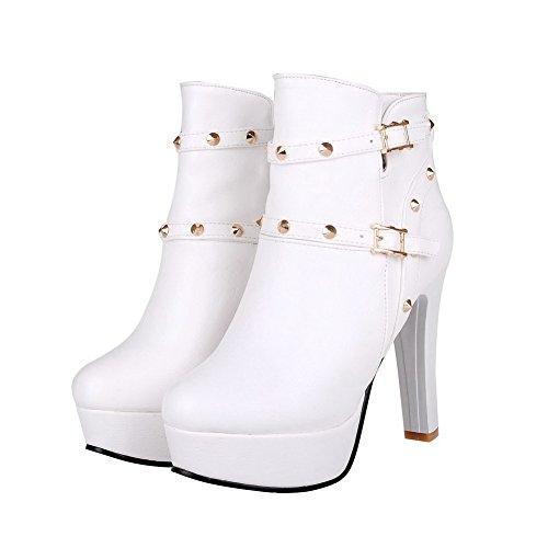 AllhqFashion Damen Ziehen auf Hoher Absatz PU Leder Rein Niedrig-Spitze Stiefel mit Schleife, Weiß, 42