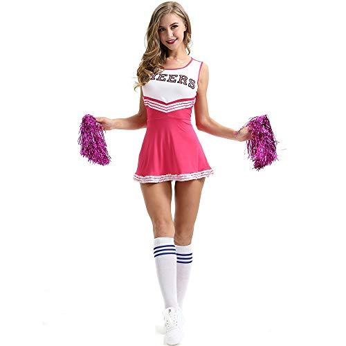 School High Nette Kostüm - Junenoma Frauen Sexy Nette Schulmädchen Musical Party Halloween Cheerleader Kostüm Kostüm Uniform Outfit,Rosered,S