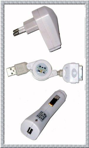 Preisvergleich Produktbild 3in1 Ladeset für iPhone 4/4G/iPod: Kfz-Ladekabel + 220V-Netzadapter + USB Ladegerät