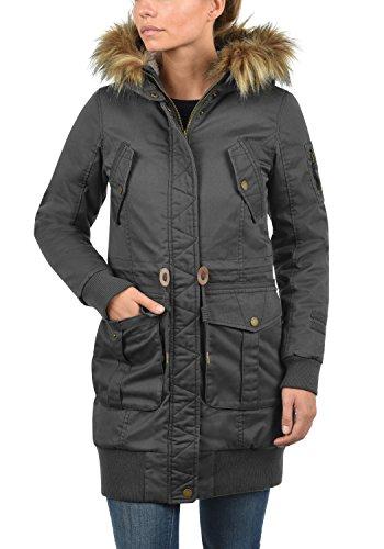 DESIRES Alma Damen Parka Winterjacke lang Mantel mit Teddy-Futter und Fellkragen aus hochwertiger Materialqualität Dark Grey (2890)