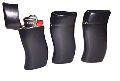 Mini Bic Lighter Sleeve Black Curved Case - One Case Lighter Not Included by (Bic Holder Lighter)