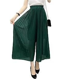 Betrothales Damen Palazzo Hosen Luftig Weite Hosen Chiffon Elegante Dünn  Trousers High Waist Plissee Freizeithose Einfarbig 7b64f6945a