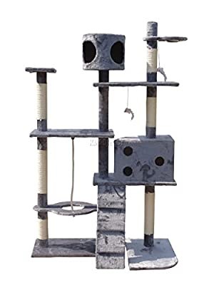 FoxHunter Deluxe Multi Level Cat Scratcher Cat Tree Activity Centre Scratching Post with 2 Caves and Toys and Sleeping Area 2299 Grey Faux Fur 106cm x 60cm x 170cm Height