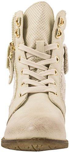 Elara Damen Stiefelette   Biker Boots   Trendy Lederoptik Beige Reißverschluss
