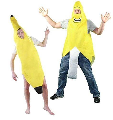 e Bananenkostüm Frucht geschälte JGA Bananen Kostüm für Herren und Damen Gr. M-XL, Größe:L (Bananaman Kostüm)