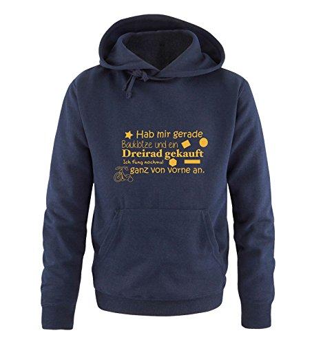 Comedy Shirts - Hab mir gerade Bauklötze und EIN Dreirad gekauft. - Herren Hoodie - Navy/Gelb Gr. S