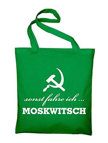 sonst fahre ich Moskwitsch AZLK Logo Jutebeutel, Beutel, Stoffbeutel, Baumwolltasche, gelb Grün