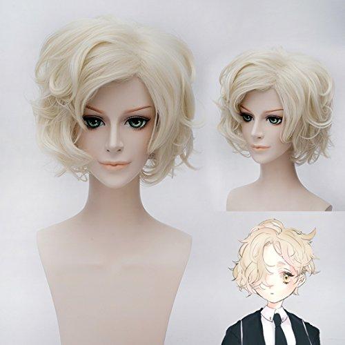 (EDAY 30cm Cosplay Perücke Blond Kurze Geschweifte Locken Touken Ranbu Gokotai Kostüm Party Haar Blonde Perücken)