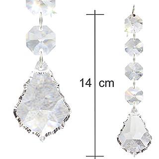 2X Kristallkette 140mm Lang Zum aufhängen als Christbaumschmuck Oder Deko für Den Weihnachtsbaum und Tannengrün, Regenbogen Barock-Pendel mit 30% Bleikristall Hoch Brillant - Typ G