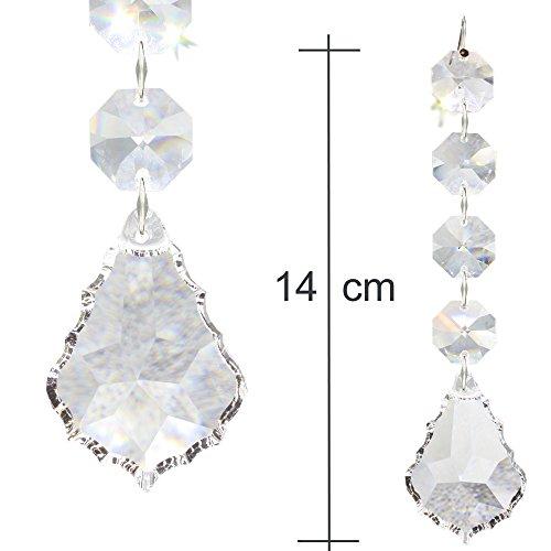 2x Kristall Baumschmuck Ketten 140mm lang zum aufhängen als Christbaumschmuck oder Deko für den Weihnachtsbaum und Tannengrün, Regenbogen Barock-Pendel mit 30% Bleikristall Hoch Brillant - Typ G