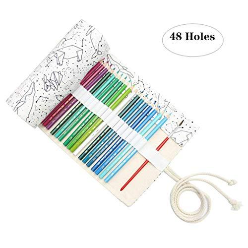 Leinwand Stifterolle Pencil Wrap Roll up Holder Tasche Federmappe(48 Loch)
