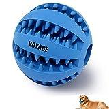 Hundespielzeug Ball von Voyage aus Naturkautschuk | Spielzeug für Hunde | Robuster Natur-Gummi Hundeball für Leckerli mit Dental-Zahnpflege-Funktion mit Noppen und Loch für Leckerli.(blau)