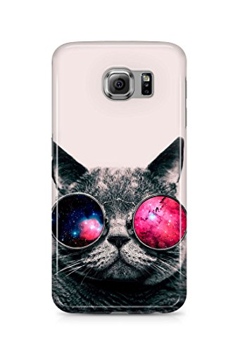 Loomiloo Cover Sonnenbrille Galaxis Universum Katze cat Handy Hülle Case 3D-Druck Top-Qualität kratzfest Samsung Galaxy S6