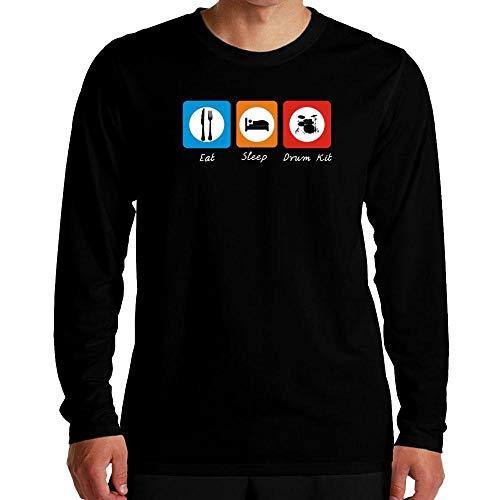 Idakoos Eat Sleep Drum Kit Langarm T-Shirt M - Eat Sleep Drum