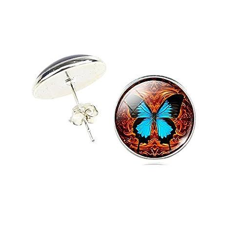 Butterfly Glass Stud Earrings (Brown)