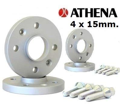 ATHENA.. Kit 4 DISTANZIALI Ruote 15 MM. Smart FORTWO Type 451 (3 Fori) da GENNAIO 2007 A Giugno 2014 con BULLONI in Acciaio