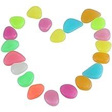 20 Piezas Piedras Luminosos de Colores Brillantes Resplandor Acuario Oscuro Piedras Decorativas Para Acuario Tanque Jardín