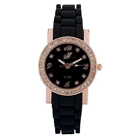 Jean Bellecour - L126-19 - Montre Femme - Quartz Analogique - Cadran Rose - Bracelet Silicone Noir