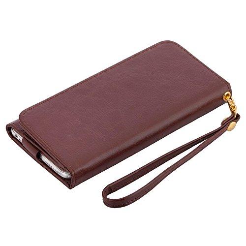 Wkae Case Cover 5,5 Zoll Universal-Crazy Horse Texture Carry Fälle mit Mappe u-Karten-Slots für Samsung-Galaxie S6 Rand / G9250 / S6 / G9200 S5 / G9006V / iPhone 6 Plus &6S plus ( Color : Purple ) Brown