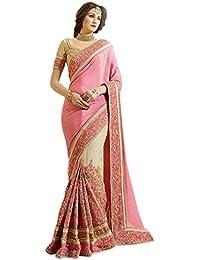 Nivah Fashion women's Net & Satin Embroidery work Half & half Saree with Blouse Piece(K663)