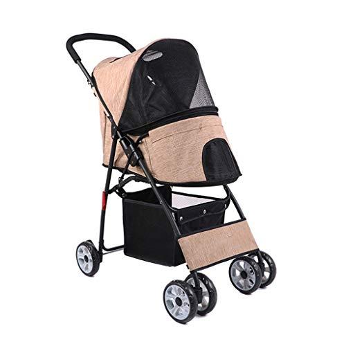 Jlxl Haustier Kinderwagen/Hund Träger/Wagen/Komfort Buggy/Faltbar Haustier Buggy/Kinderwagen Kinderwagen Zum Hunde Und Katzen (Color : Beige, Size : 77 * 43 * 92cm) -