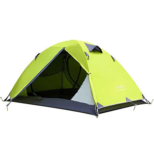 SKYSPER Kuppelzelt Wasserdicht Trekkingzelt Outdoor Leichtes Campingzelt Manueller Familienzelt mit Tragetasche für 2 Personen, Olivgrün
