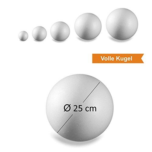 l Basteln l Volle Kugel l Teilbar l Groß l Klein l Zada Idee (Ø 25 cm – 1 Stk) (Styropor-kugel)