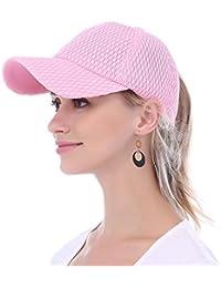 48c70a81 JAKY Global Women Ponytail Baseball Cap Messy Bun Adjustable Mesh Trucker  Sport Hats