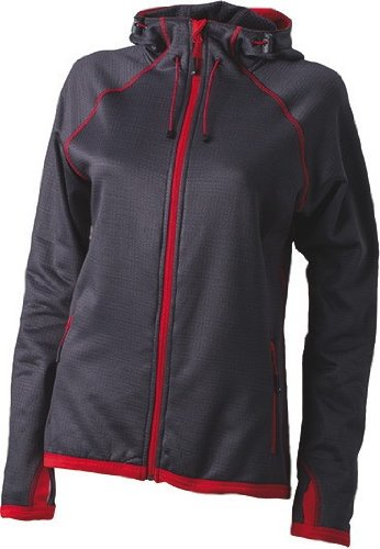 Ladies Fleece Kapuzenjacke Carbon/Red
