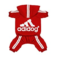 ‏‪Scheppend Original Adidog Pet Clothes for Dog Cat Puppy Hoodies Coat Doggie Winter Sweatshirt Warm Sweater Dog Outfits, Red Small‬‏