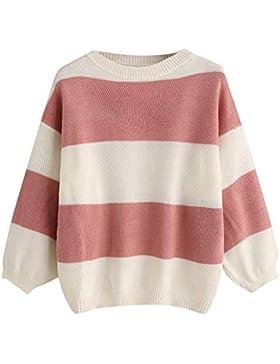 QinMM Mujer Suéter Moda Casual Jersey Prendas de Punto Mangas Largas Raya Camiseta Jumper Tops Otoño Invierno...