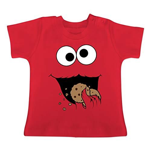 Karneval und Fasching Baby - Keks-Monster - 18-24 Monate - Rot - BZ02 - Baby T-Shirt ()