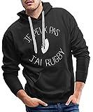 Je Peux Pas J'Ai Rugby Sweat-Shirt à Capuche Premium pour Hommes, XL, Noir