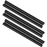 com-four® 3X Zugluftstopper mit Doppeldichtung, bis 86 cm Länge individuell zuschneidbar, Türbodendichtung in schwarz für Isolierung und Schutz vor Zugluft und Lärm (03 Stück)