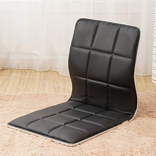 Floor Chair Lazy Sofa Japanese Style Wooden Single Bed Legless Dormitory Computer Chair, ideal as ergonomic seat cushion for office chair and at home (Color : Black)