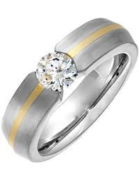 Theia Ring Court Tension Flach 6 mm Titan und Gelbgold Inlay 9ct