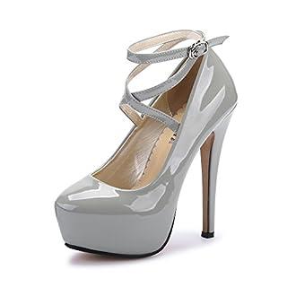 OCHENTA Damen Glitzerschuh Bride Knöchel sexy High Heel Plattform Dick Schnürverschluss Schuhe Club Soiree, (Beige Sole) PU Grey - Größe: Asiatique 43-EU Taille 42.5