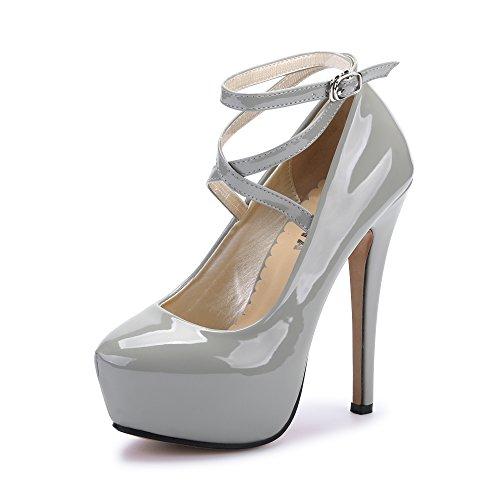 OCHENTA Damen Glitzerschuh Bride Knöchel Sexy High Heel Plattform Dick Schnürverschluss Schuhe Club Soiree, (Beige Sole) PU Grey - Größe: 40 EU